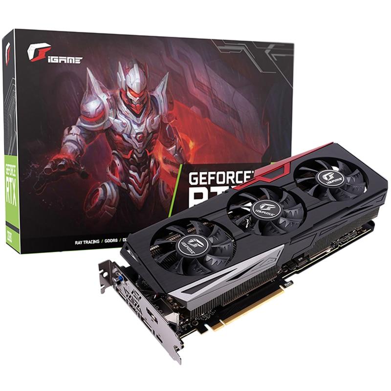 2019 Nova Colorido iGame RTX 2070 Ultra RGB Placa Gráfica GeForce 1620 MHz 8 GB GDDR6 256Bit 2304 CUDA 175 W 5 coletor da tubulação de calor e 3 Fãs