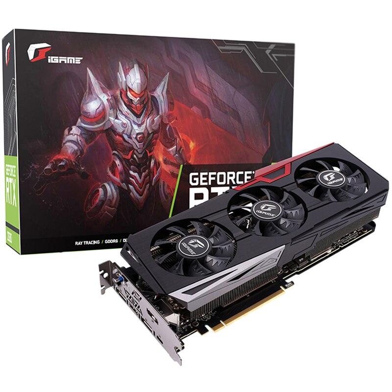2019 nouvelle carte graphique colorée GeForce iGame RTX 2070 Ultra RGB 1620 MHz 8 GB GDDR6 256Bit 2304 CUDA 175 W 5 caloduc et 3 ventilateurs