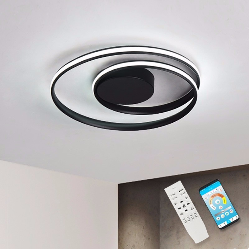 Black Modern LED Ceiling Lights For Living Room With Remote Dimmable Kitchen Fixtures Plafon Bedroom Lamp