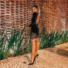 MUXU fashion sexy women bodycon black dress vestidos party dresses clothes sukienki long sleeve sequin patchwork lace