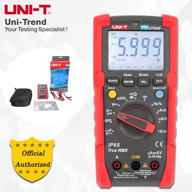 UNI T ut191e/ut191t multímetro profissional; verdadeiro rms ip65 impermeável/dustproof multímetro digital, temperatura/loz tensão