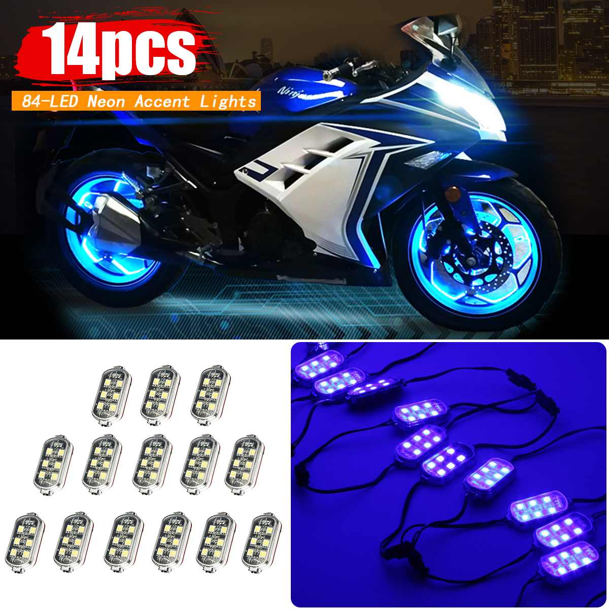 14 Pcs 12V Motorcycle Bike Wireless Control Remote 84-LED Neon Accent Lights Blue14 Pcs 12V Motorcycle Bike Wireless Control Remote 84-LED Neon Accent Lights Blue