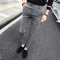 2018 Autumn Brand New Business Formal Wear Men Pant Dress Pants Men Slim Fit Plaid Casual Suit Pants Men Clothes Trousers Male