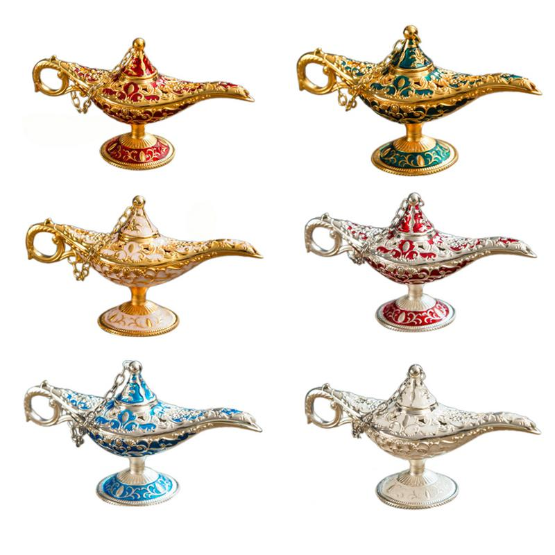 Metal Carving Aladdin Lamp Retro Statue Aluminum Alloy Decoration Collection Save Collection Art Craft Gift Dropshipping