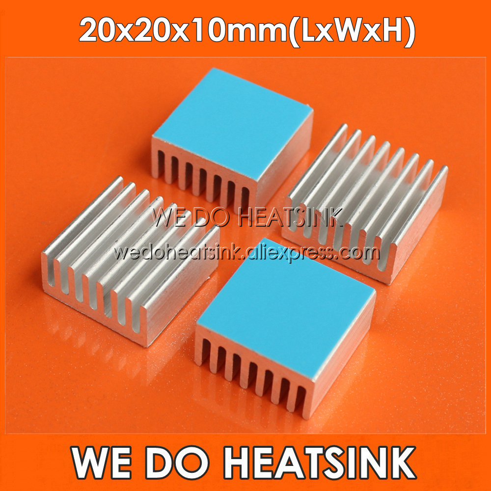 WE DO <font><b>HEATSINK</b></font> 8pcs 20x20x10mm 1W 3W <font><b>5W</b></font> <font><b>LED</b></font> Power Heat Sink AluminumWith Thermal Double Sided Adhesive Pad image