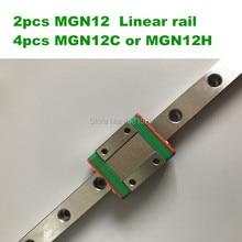 2 шт. 12 мм линейной направляющей MGN12 L = 100 200 300 350 400 450 500 550 600 линейный железнодорожные пути + 4 шт. MGN12C или MGN12H линейный carriag