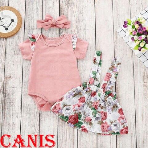 reino unido stock rosa menina do verao da crianca do bebe encabeca floral romper saia