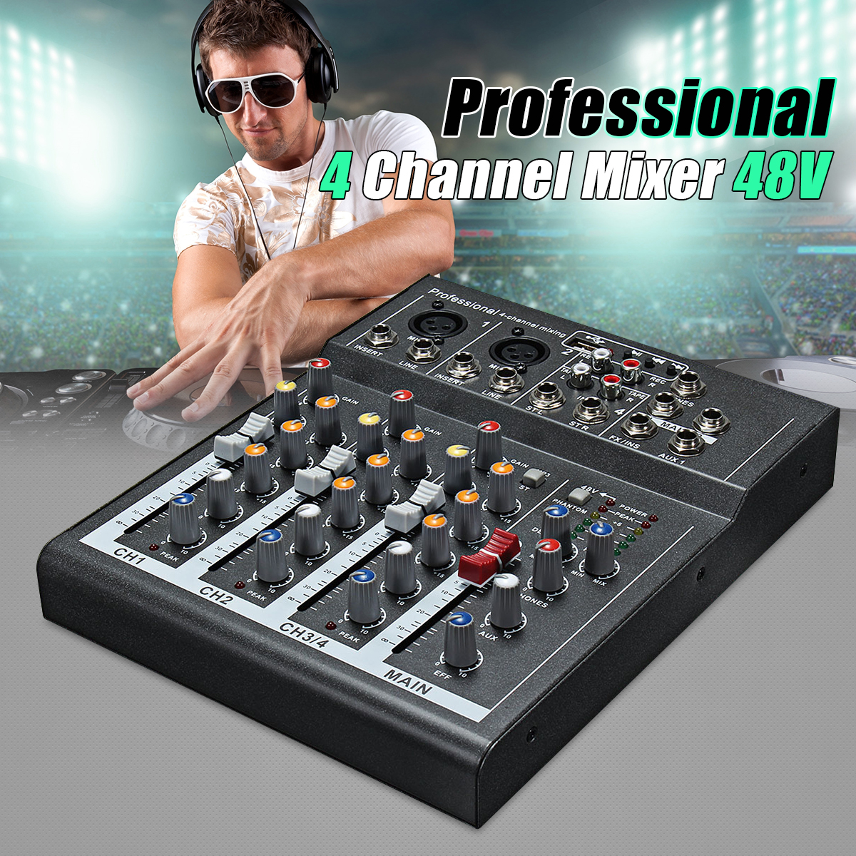 4 Channel Mini Portable Audio Mixer with USB DJ Sound Mixing Console MP3 Jack Karaoke 48V Amplifier For Karaoke KTV Match Party mini portable audio mixer with usb dj sound mixing console mp3 jack 4 channel karaoke 48v amplifier for karaoke ktv match party