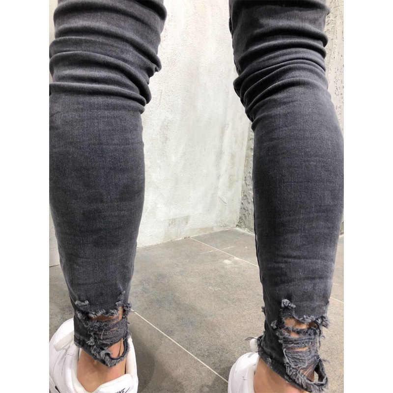 2018 neue Männer Zerrissene Dot Gedruckt Dünne Jeans Zerstört Ausgefranste Slim Fit Denim Hose casual männer schlanke loch Zipper balck jeans hosen