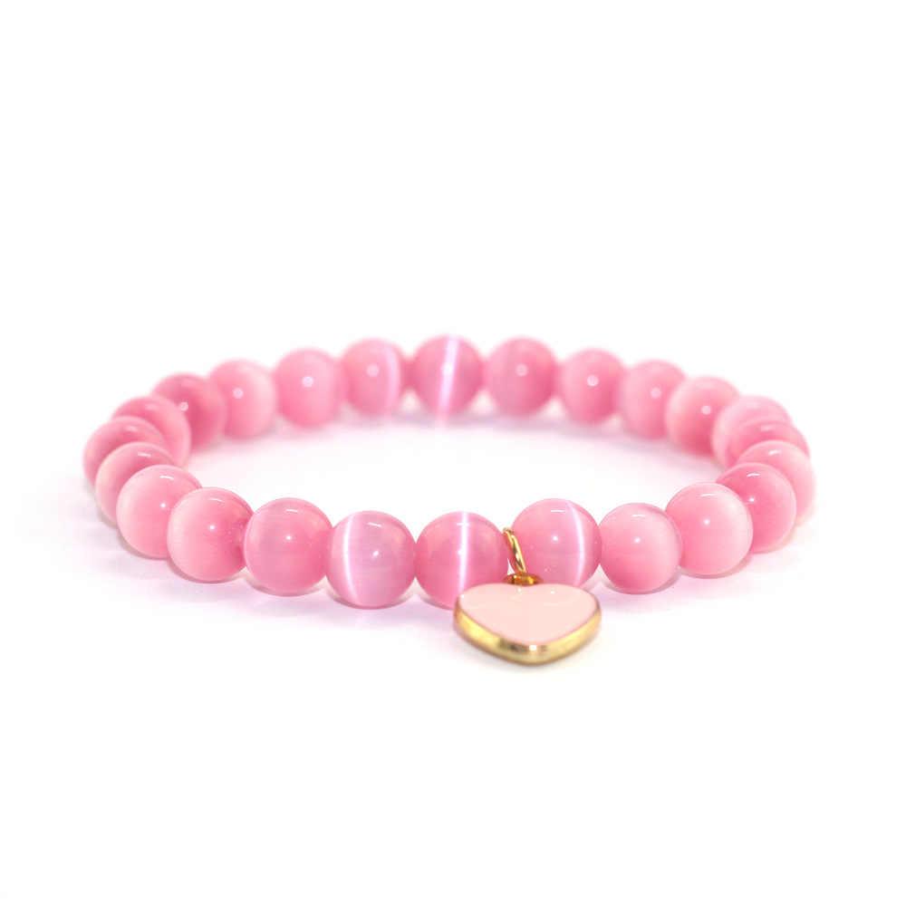 Pulsera ojo de gato Rosa joyería hombres mujeres pulseras Boho regalos piedras naturales cuentas Yoga cuentas energía meditación 2018 nueva aleación