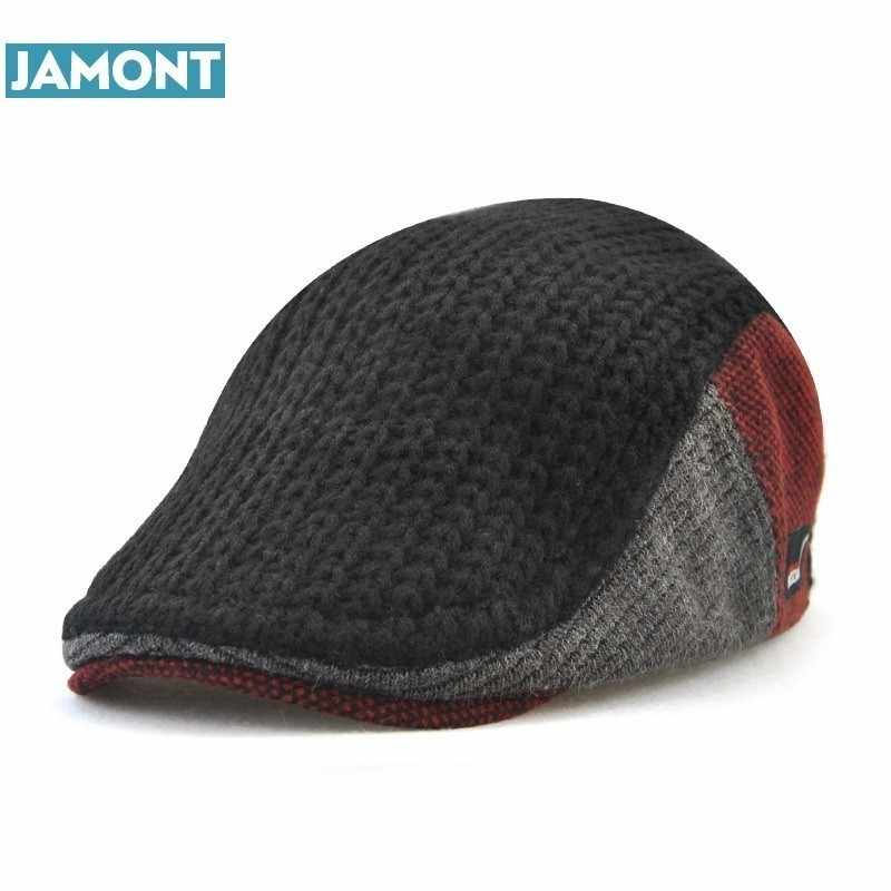 JAMONT New Unisex Autumn Winter Beret Buckle Hat For Men Women Solid  Leisure Wool Warmer Knitted 7d2df337180e