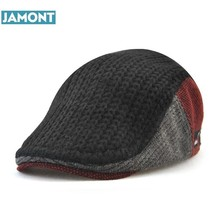 JAMONT nuevo Unisex Otoño Invierno Boina hebilla sombrero para hombres  mujeres sólido ocio lana calentador de punto Casquette Bo. e942314871b