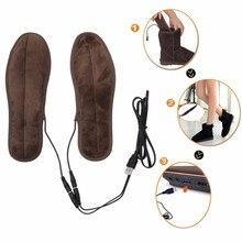 Новинка; плюшевые меховые стельки с электрическим питанием от USB; зимние теплые стельки для обуви; размеры 36-44