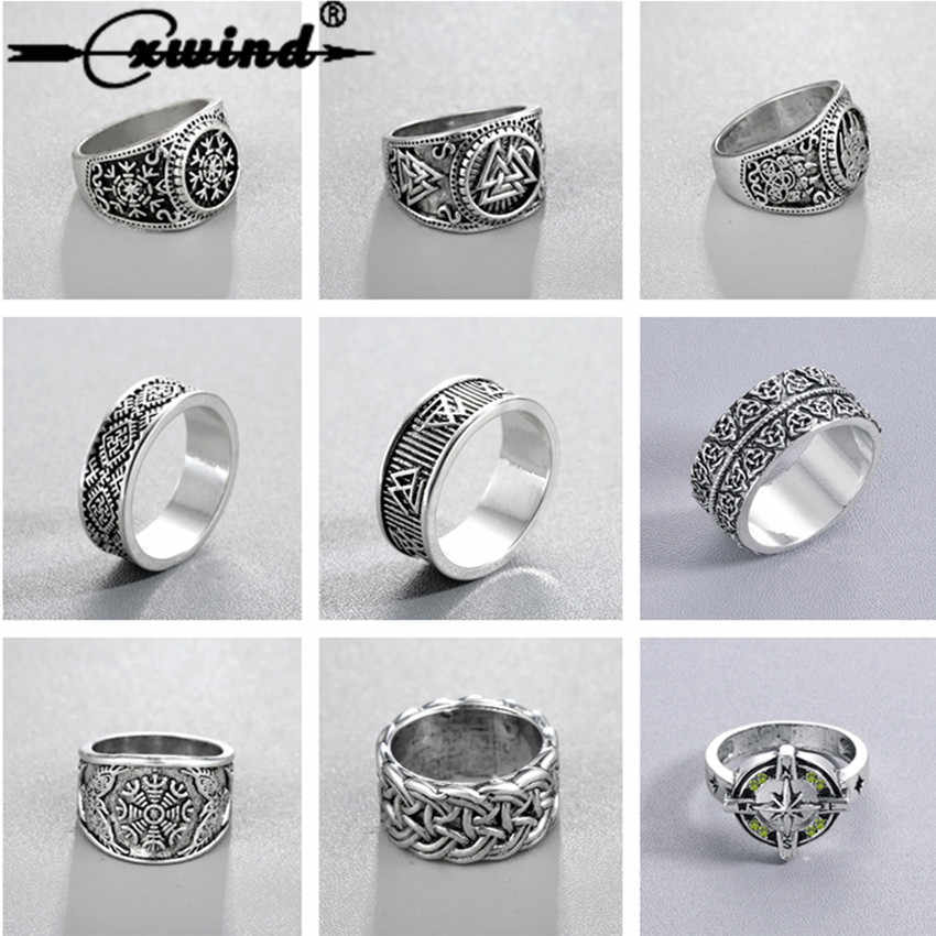 Cxwind Slavic Men's Rings Kolovrat Pagan Jewelry Rune Signet Talisman Ring Norse Viking Jewelry for Men Punk Retro Bijoux sygnet