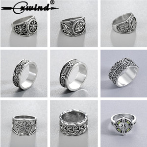 Cxwind Slavic Men's Rings Kolovrat Pagan Jewelry Rune Signet Talisman Ring Norse Viking Jewelry for Men Punk Retro Bijoux sygnet(China)