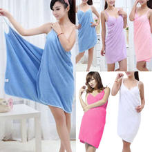 Cute Women Girls Laies Bathrobe Fashion Bath Wearable Towel Dress Solid Fast Drying Beach Spa Women Girls Bathing Bathrobes(China)