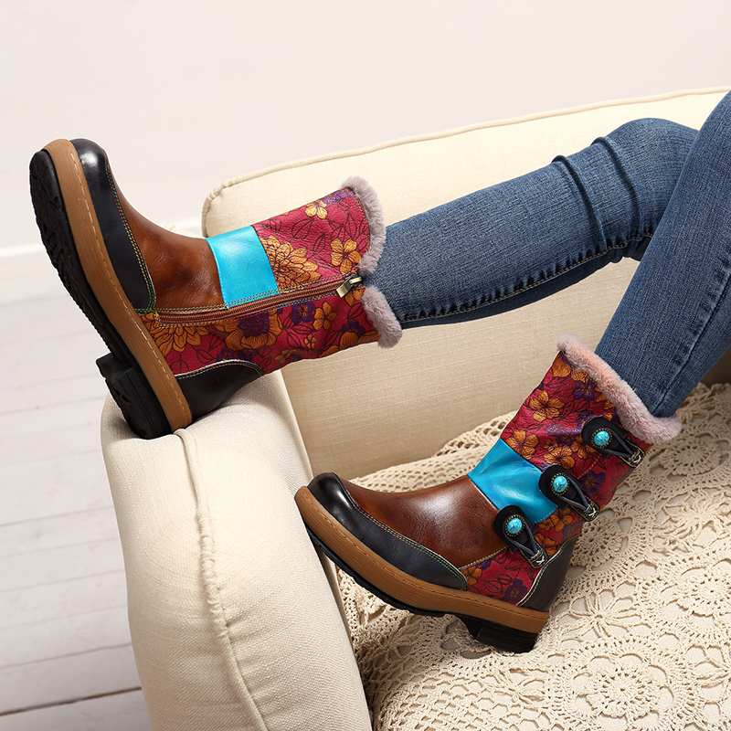 Socofy Vintage Mongolia Style Ankle Boots For Women Shoes Woman Genuine Leather Zipper Winter Boots Women  Western Booties