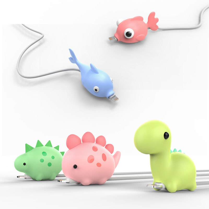 1Pcs Cute Animal Silicone Wire Cover Data Cable Protector Anti-Break Cable Winder Economizer For IPhone Charger Cable Cord Cover