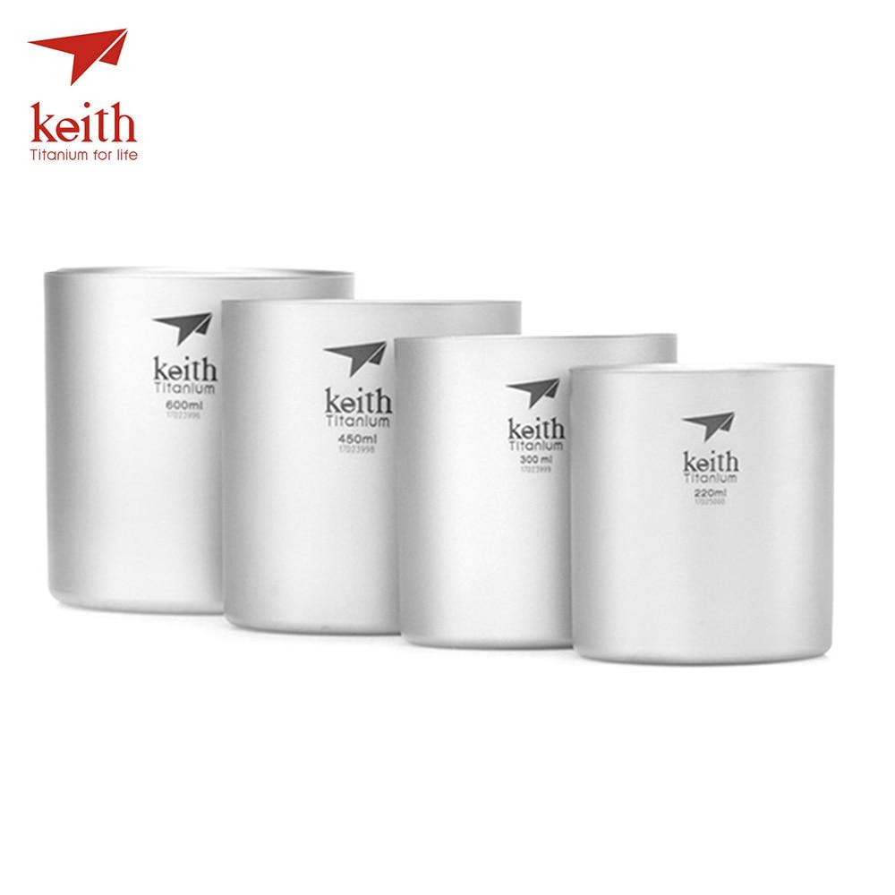 Keith Ti3501 4 pièces 0.22L/0.3L/0.45L/0.6L tasse en titane ultraléger tasse Double paroi Camping randonnée tasses Drinkware vaisselle d'extérieur