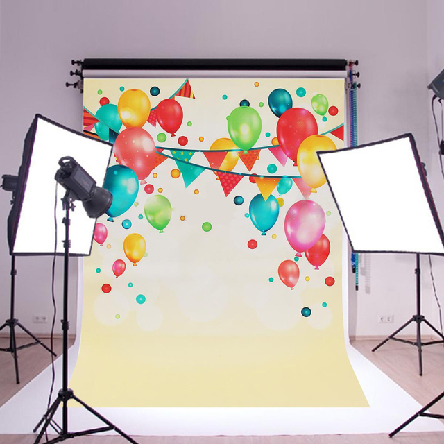 Colorful Balloons 1st Birthday Party Celebration Photography Backgrounds Customized Wall Silk Poster Backgrounds Photo Studio