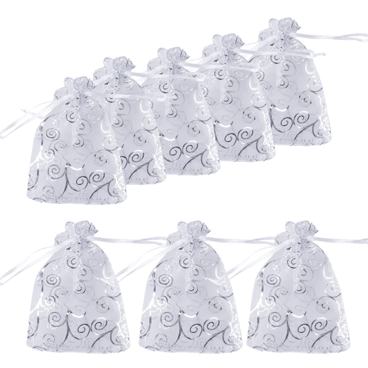 50Pcs Gift Wrap Storage Mini Sheer Organza Decorative Drawstring Rattan Pattern Favor Candy Jewelry Pouches Bags