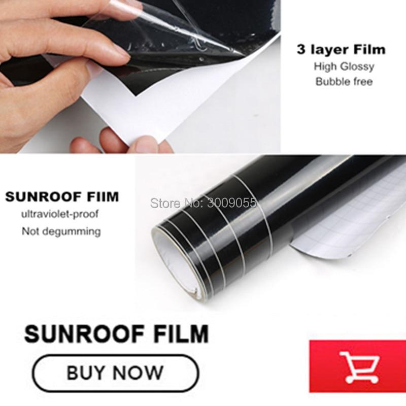 High glossy car panoramic sunroof membrane bubble free black shining car sunroof wrap vinyl film new