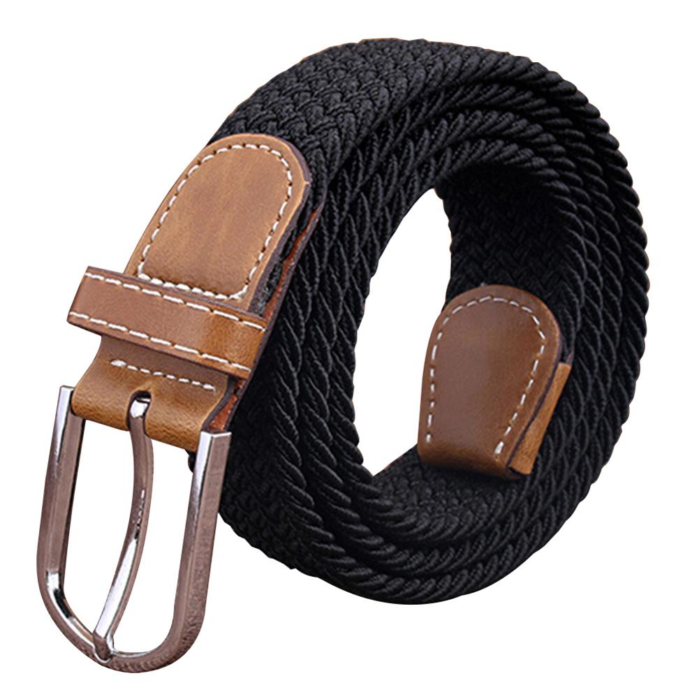 Wholesale Men Women Fashion Braided Elastic Stretch Metal Buckle   Belt   Strap Waistband