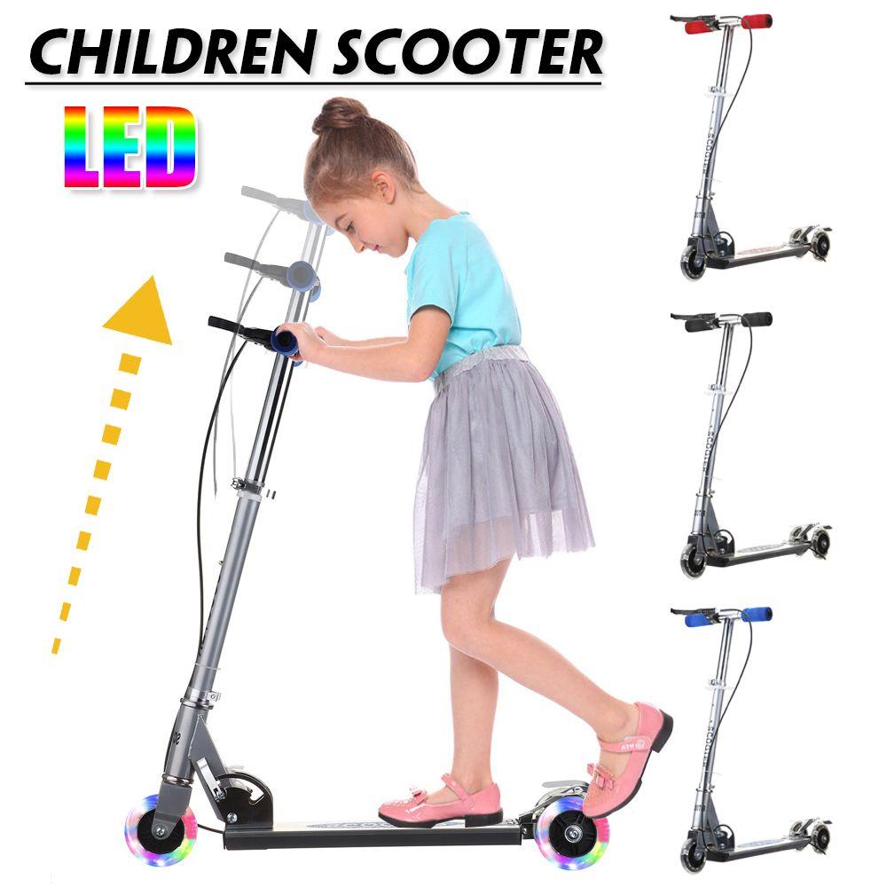 Enfants réglables enfants Scooter lampe à LED 3 roues légères pliable en alliage d'aluminium en plein air Sport en aluminium pour enfant