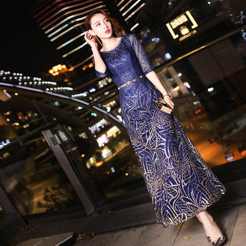 Tempérament Style Femelle Filles Réunion Haute Sommerkleid D'anniversaire Partie Couture De B Élégant Annuel Longue Robe A Noble style Hôte Décontracté A160 qtnTE0P