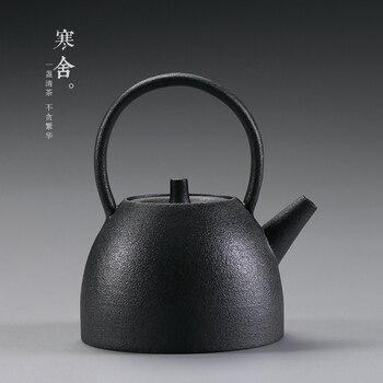 Crude pottery tea pot pottery home antique Kung Fu tea set Japanese style girder black tea maker teapot single kettle teaware