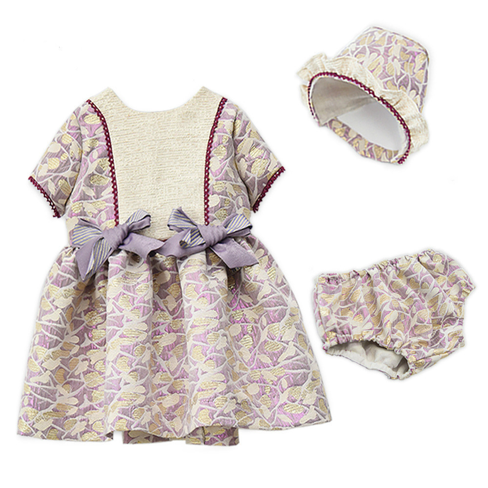 424492ae45410 Baby Girls Dress Spain Princess Brithday Party Dresses With Hat PP Pant  3pcs Set Robe Fille Infant Toddler Suit Children clothes