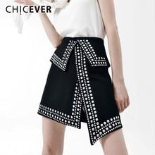 Chicever 女性のスカートハイウエストリベット非対称スプリット夏黒スリム a ライン女性のミニスカート 2020 カジュアルファッション潮