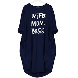 2019 Fashion T-Shirt for Women Pocket WIFE MOM BOSS Letters Print Top Tshirt Women Punk Cotton Off Shoulder Tops Mother's Day 5