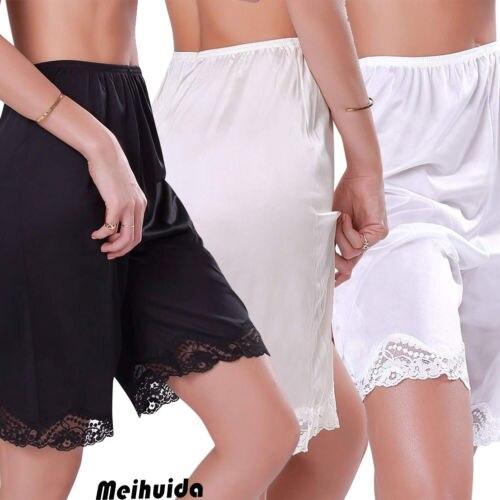 Women's Premium Nylon Daywear Bloomer Slip Pants With Lace Breathable Soft Trim Sleep Bottoms Plus Size