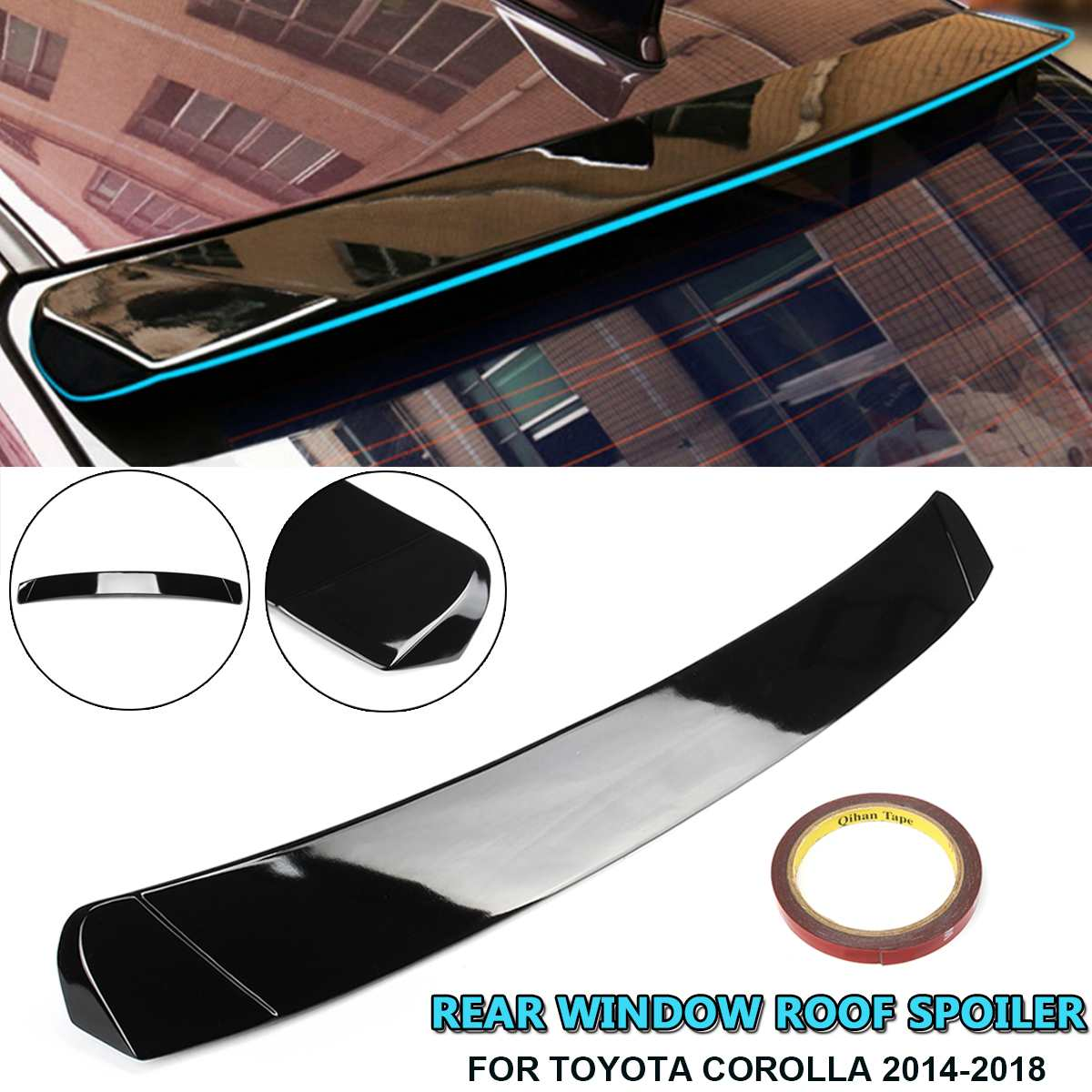 Rear Window Roof Spoiler Sun Rain Shade Vent Visor Lip For Toyota Corolla 2014 2015 2016