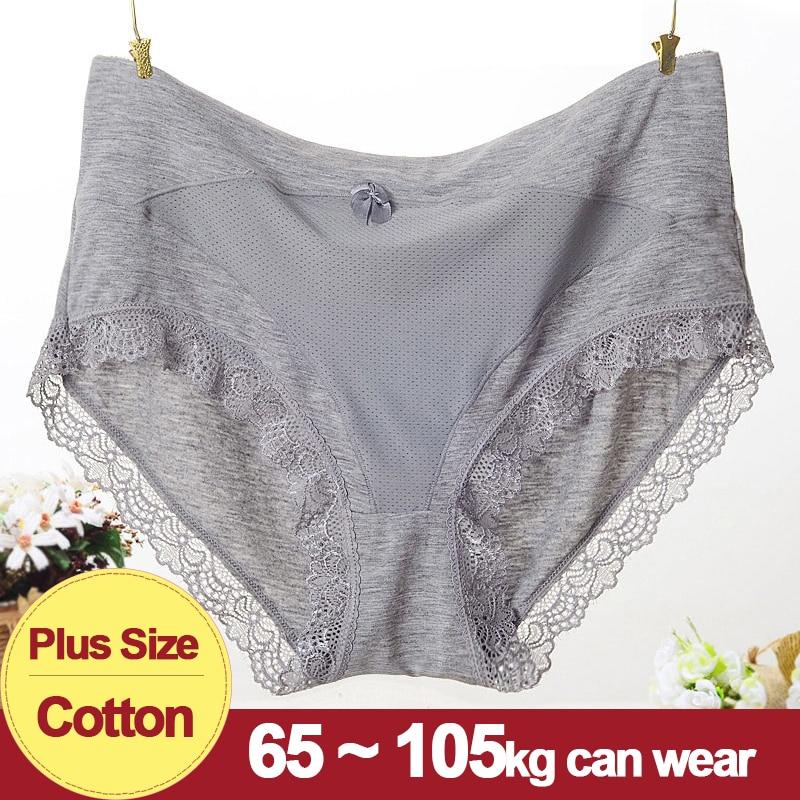 Women Cotton   Panties   Plus Size Mid Waist Lace No Trace Lingerie Big Size Underwear Female Briefs Sales Hot 2019 XXXL XXXXL
