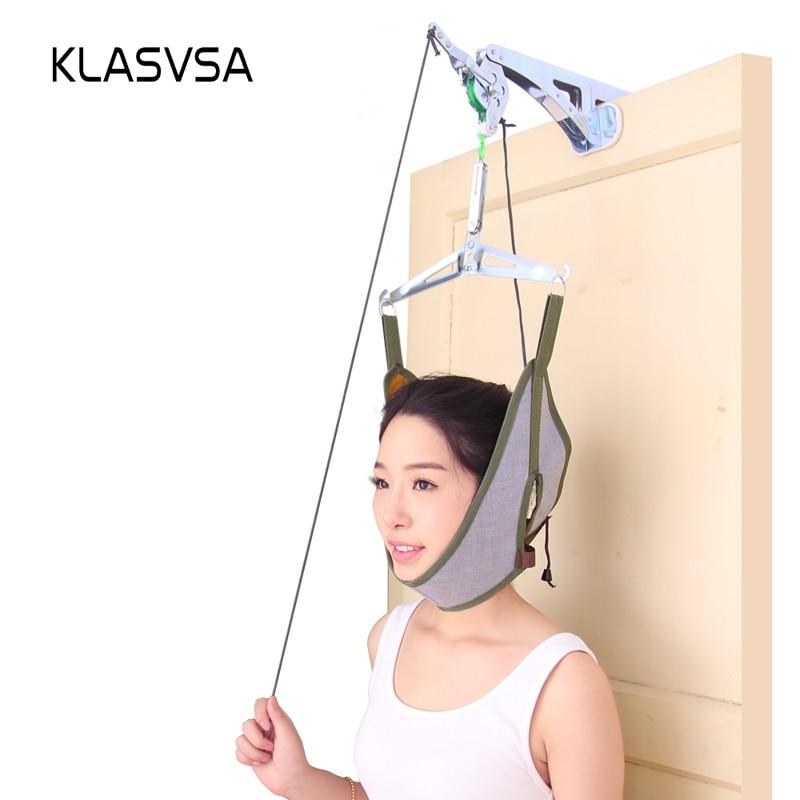 KLASVSA Over Door Cervical Traction Neck Massager Device Adjustment Chiropractic Stretching Back Posture Corrector Relaxation