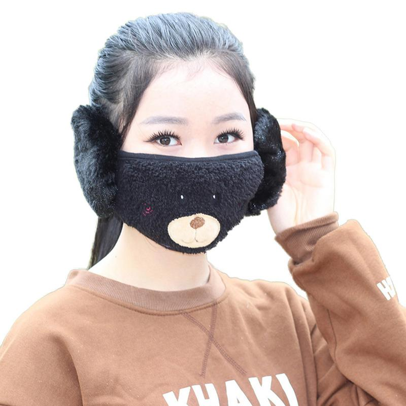 Korean New Winter Ear Protection 2 In 1 Embroidered Bear Earmuffs Lovely Dust-Proof And Warm Ear Mask