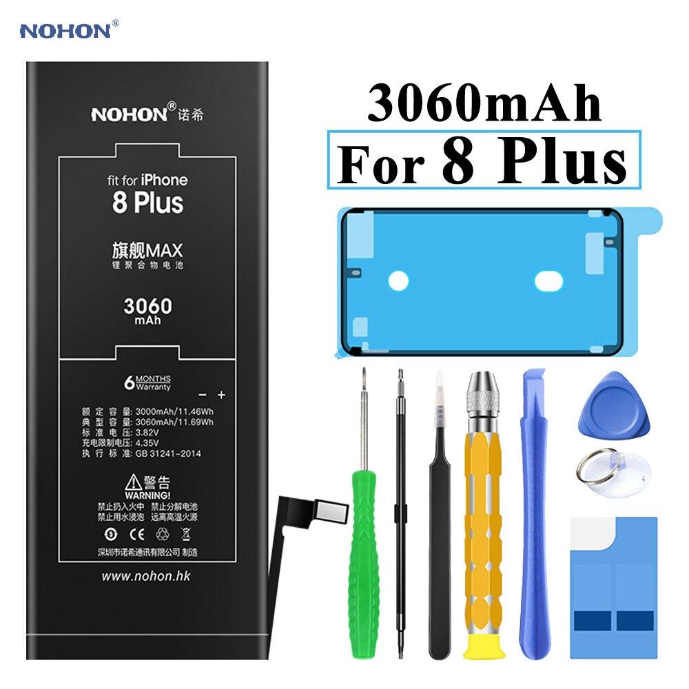 Nohon Bateria Para iPhone 8 8 Plus Plus Built-in Baterias de polímero de 3060 mAh de Capacidade Para Apple iPhone 8 além de 8 Além Da Bateria + Ferramentas