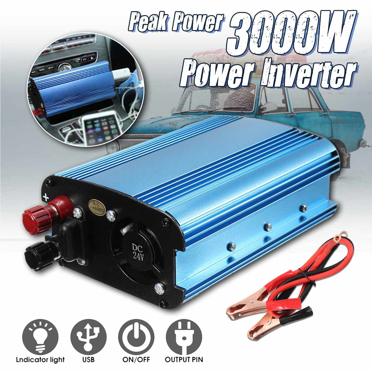 KROAK 3000W DC 12/24/48V/60V To 220V Solar Power Inverter Converter For Road Trips Vacations Outdoors