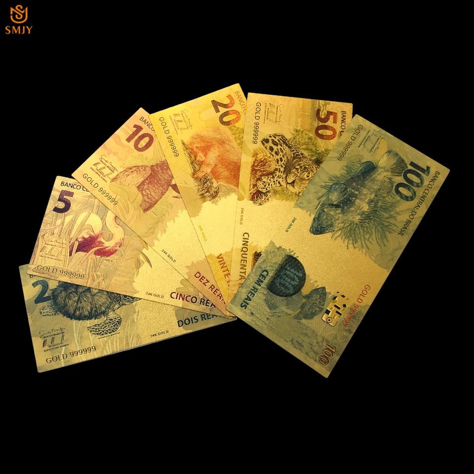 Комплект золотых банкнот Reyal 6 шт./лот 2/5/10/20/50/100 бразильская валюта 24k, Золотая фольга, бумажные банкноты, деньги за партриотизм, поделки