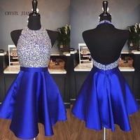 CRYSTAL JIANG 2019 Robe cocktail Halter Heavy Beading Royal Blue Satin Sexy Open Back Short Mini Cocktail Dresses