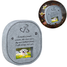 UEETEK Pet Memorial Stone with Photo Frame Paw Print Grave for Dogs Cats(China)