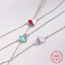 Korea New Style 925 Sterling Silver for Women Simple Fashion Chic Colorful Heart Chain Bracelets Jewelry flyleaf 925 sterling silver bracelets for women cross tube cubic zirconia party simple fashion fine jewelry bracelets