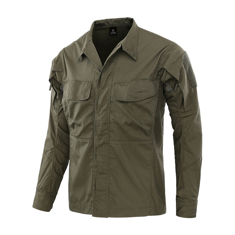 Multi-pocket Plaid Breathable Wearproof Military Uniform Outdoor Climbing Riding Training Long Sleeve Tactical Camouflage Shirt