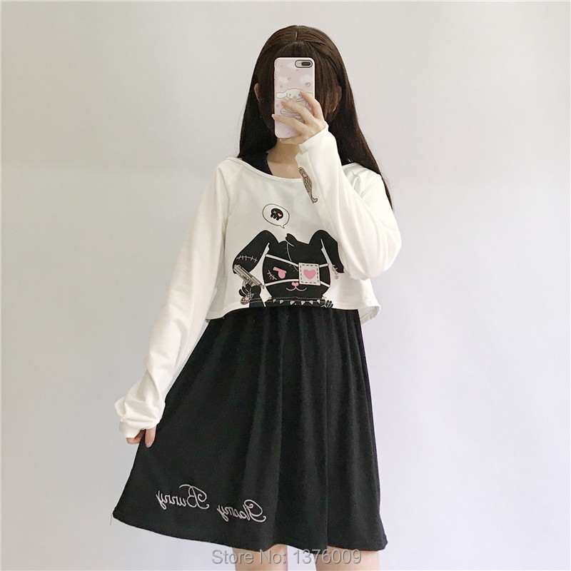Wholesale Black Comic Rabbit Dress 2 Pcs Dress Set Punk Girls Black Lolita Dress Japanese High School Harajuku Costume