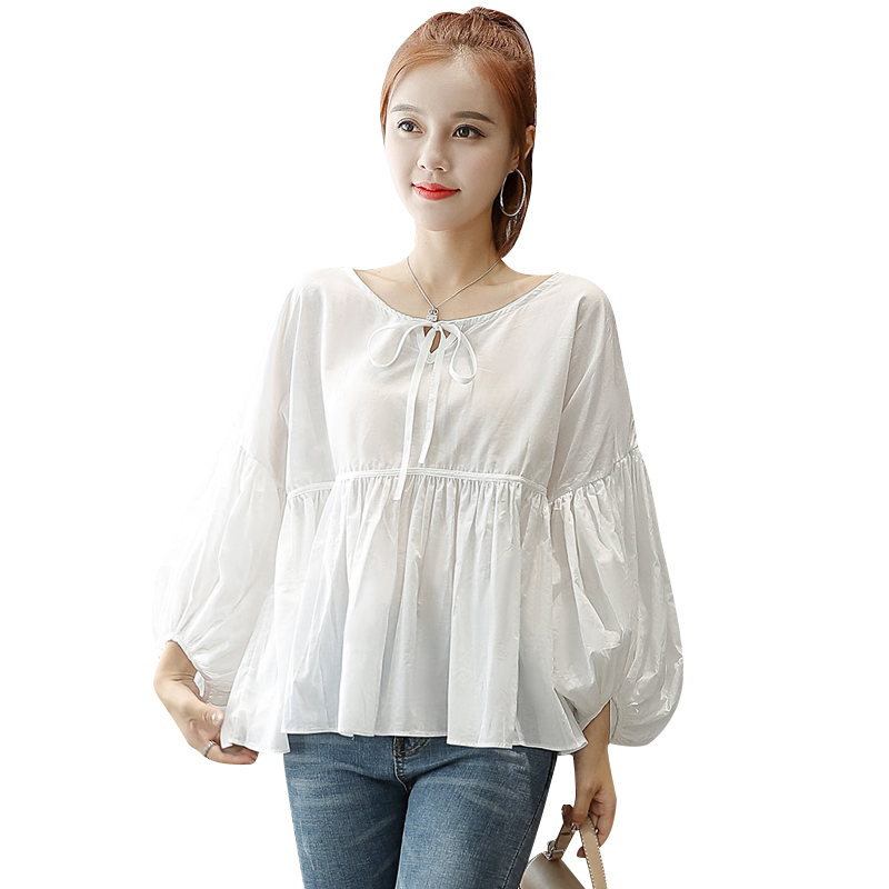Spirited 2019 New Spring Women Shirts Lantern Loose Sleeve Head Blouse Shirt White 5575 To Rank First Among Similar Products Women's Clothing