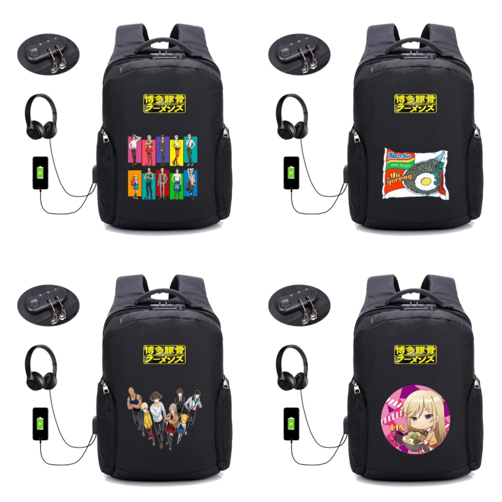 anime Hakata Tonkotsu Ramens backpack USB Charging student book bag Men women Anti-theft Laptop Backpacks Travel Bags 18 styleanime Hakata Tonkotsu Ramens backpack USB Charging student book bag Men women Anti-theft Laptop Backpacks Travel Bags 18 style