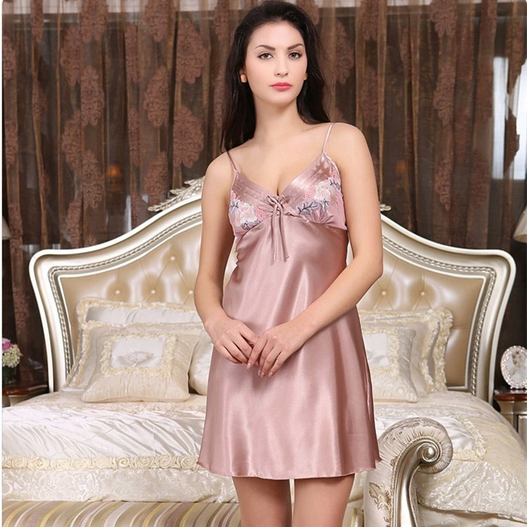 New Fashion Ladies Summer Bow Floral Print Mini   Nightgowns   Female Sexy Spaghetti Strap Thin Sleeveless   Sleepshirts