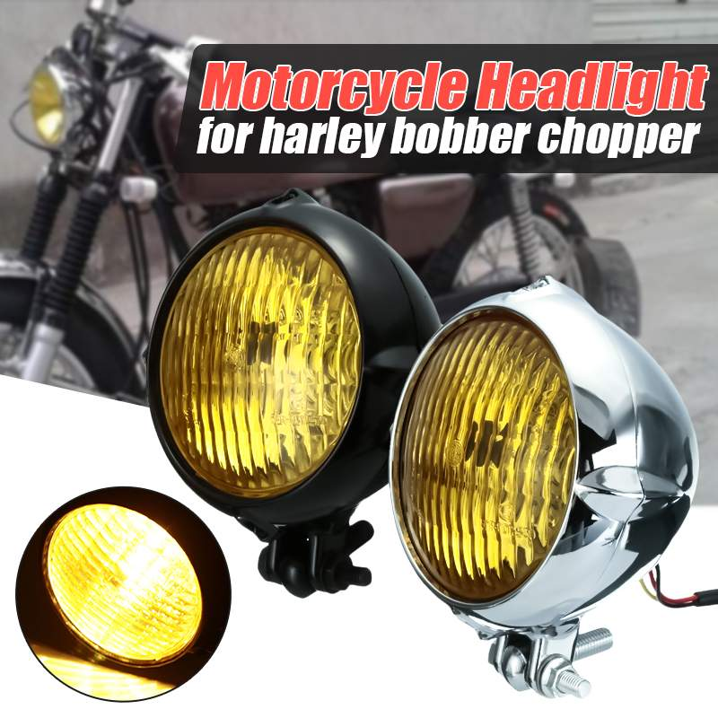 Motorcycle Chrome 4 Headlight Lamp H4 35W For Harley Bobber Chopper Sportster CustomMotorcycle Chrome 4 Headlight Lamp H4 35W For Harley Bobber Chopper Sportster Custom